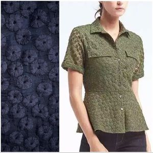 Banana Republic Embroidered Peplum Floral Shirt